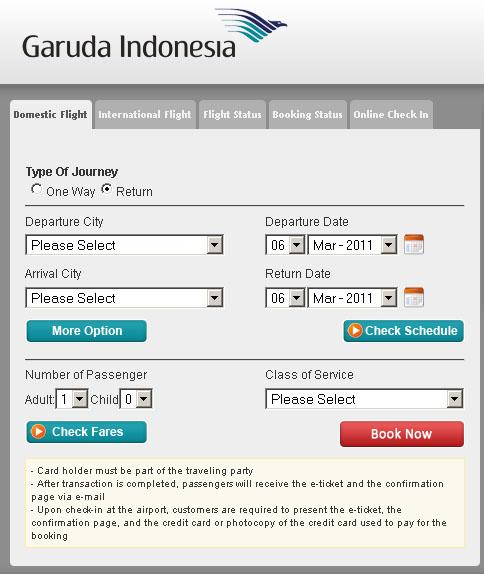 Booking Online Tiket Garuda