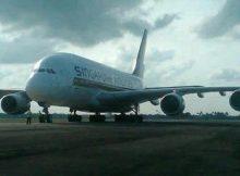 A380 Singapore Airlines Mendarat Darurat di Bandara Soekarno Hatta
