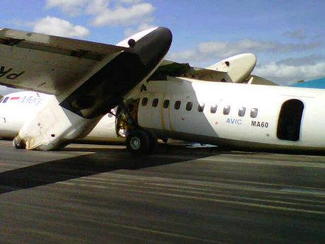 Pesawat Merpati Hard Landing